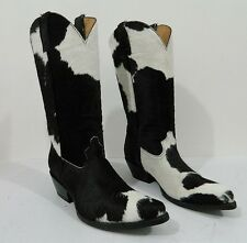 Made to order to your size calf hair leather cowboy boots white and black spots