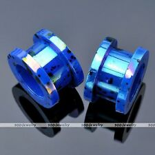 """Pair(2) Acrylic Dark Blue 1/2"""" Dot Double Flared Ear Tunnel Plug Expander Earlet"""