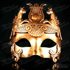Roman Warrior Venetian Masquerade Mask for Men - Metallic Sun God Mask [Gold]