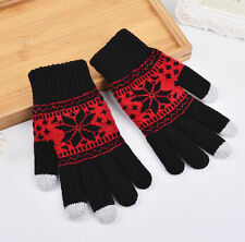 Warm Winter Gloves Knitted Touch Gloves Men Women Gloves Touch Screen Glove Redb