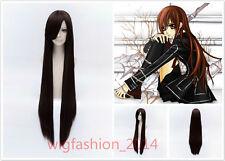 100cm Long Vampire Knight Yuki Kuran Dark Brown Straight Cosplay Wig+Wig Cap