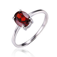 1.6ct Genuine Garnet Solitaire Ring Solid 925 Sterling Silver Women Size 8