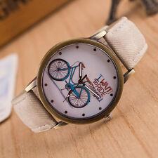 CHILDRENS BOYS GIRLS Fashion Casual Cute Cartoon Bike Leather Quartz Wrist Watch