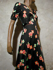 CHIC VINTAGE ROBE LONGUE 1970 VTG MAXI DRESS 70s KLEID 70er ABITO RETRO (36/38)