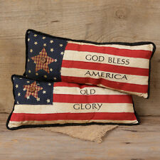 SET 2 AMERICAN FLAG PILLOW Old Glory God Bless Primitive Country Star Americana