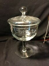 """ANTIQUE ETCHED GLASS CANDY BOWL OR COVERED COMPOTE 10"""" TALL 6"""" DIAMETER"""