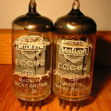 2 MATCHED 1962 PRE-YELLOW MULLARD ECC82 12AU7 Gf1 CLOSE CODES FULLY AVO-TESTED