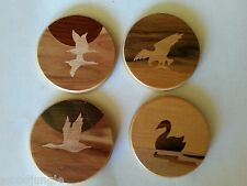 4 VIntage INLAY WOOD COASTERS DUCK GAME EAGLE BIRD GEESE DECOY MOUNTAIN CABIN