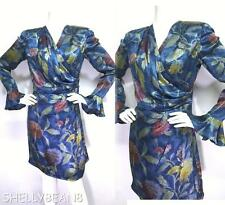 EMANUEL UNGARO Parallele 100% SILK Faux Wrap FLORAL Dress VTG 12 FITS 8 GORGEOUS