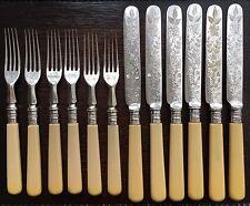 Seis Pares De recargado caracteriza Plata Con Cuello antigua victoriana Antique Victorian cuchillos y tenedores