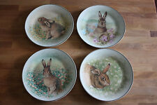 New Pottery Barn Meadow Bunny Easter Dessert Salad Plates, 4pc in box