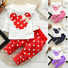 2pcs Baby Girls Cotton Shirt Tops+pants Outfits Set Polka Dot Kids Clothing suit