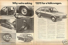 1972 2 Page Print Ad of 1973 VW Volkswagen 412 4 Door Fastback & Wagon