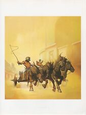 """1990 Vintage KEN KELLY """"CHARIOTS"""" RACE RACING COLOR Art Plate Lithograph"""