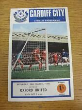 28/03/1970 Cardiff City v Oxford United  (Crease). Item in very good condition,