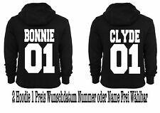 Bonnie Parker & Clyde Barrow Hoodies 2 Stück Partner-Look Hipster XS - 5XL