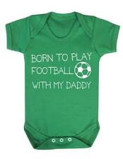 "Baby Grow ""Born to play Football with my Daddy ""Football baby Bodysuit / Grow"