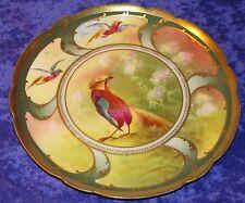 Superbe assiette porcelaine Limoges Balleroy début 20ème décor main faisan doré