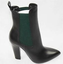 AUTH $995 Gucci Women Black Leaher High Heel Boots 39