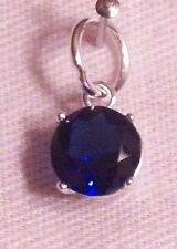 September Birthstone Charm w/ 6 mm Crystal - Sterling Silver - NEW