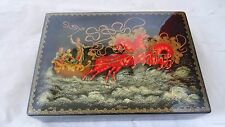 """Rare Large Vintage Palekh Russian Lacquer Box """"Troika"""" By Zaplatin"""