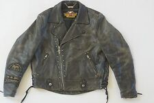 Harley Davidson Mens Vintage V-Twin Studded B&S Distressed Leather Jacket L Rare