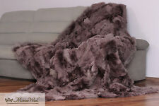 SALE Blanket / Throw TOSCANA 100% Wool Shearling Sheepskin Rug Size 160x 200 cm