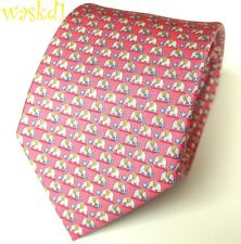 SALVATORE FERRAGAMO Pink with gray ELEPHANTS blue FLOWERS silk MENS tie NWT Auth