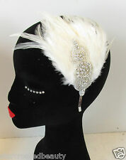 Ivory White Cream Silver Feather Headpiece Vintage Headband Flapper 1920s N64