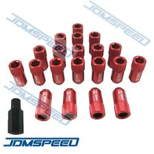 RED D1 SPEC JDM ALUMINUM RACING WHEEL LUG NUTS M12X1.5 WITH KEY LOCK FOR HONDA