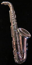 Saxophone Pin Brooch Antiqued Silver Plate Music Band Orchestra Symphony