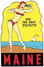 MAINE  Pin-Up  Vintage-1950s Style Travel Decal/Sticker