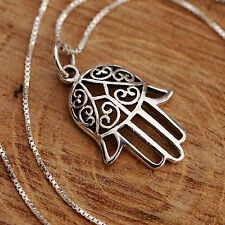 Sterling Silver Necklace Hamsa Pendant Hand of Fatima Lucky Gift Talisman New