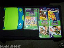 Blue / Green Leap Frog Leap Pad Learning System with 5 Books Science Math