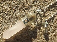 Rose quartz 6 sided mini wand healing dowsing pendulum pendant