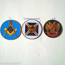 """AE- Masonic Value Pack of 3 Emblems 3""""Masters 3""""knight Templar 2.75 32ND Degree"""