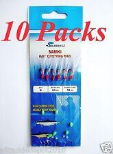 10 Packs Size #8 Sabiki Bait Rigs 6 RED Hooks Saltwater Fishing Lures - 496