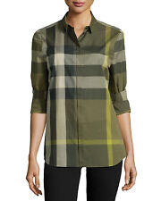 NEW BURBERRY BRIT WOMEN'S CHECK PRINT COTTON OLIVE BLOUSE TUNIC SHIRT TOP Sz S