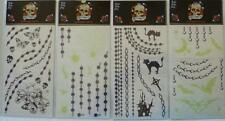 Lot 60 Temporary Tattoo Butterfly Skull Flower Glow In Dark Cat Spider Web Cross