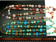 2 long Czech glass and wood bead necklaces 46 inches, lobster claw, zz 153