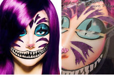 Easy Cheshire Cat Glitter Sticker Eye Makeup Face Mask Wonderland Costume Set