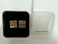 """MR MEN: MR TICKLE """"DOESN'T KNOW WHEN TO STOP"""" Mens Cufflinks, W/Gift Box"""