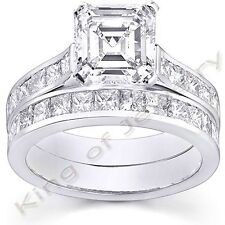 2.71 Ct. Asscher Cut Diamond Engagement Bridal Set