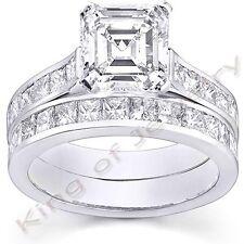 2.71 Ct. Asscher Cut Diamond Engagement Bridal Set