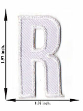 """"""" R """" White Alphabet Letter English Language Applique Iron on Patch Sew For Hat"""