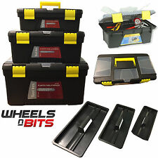 3PC PLASTIC TOOL BOX CHEST SET HANDLE TRAY & COMPARTMENT DIY STORAGE TOOLBOX BAG