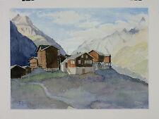 Aquarelle Zermatt Valais Suisse Henri Gommers 1964 Montagne