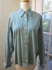 Brooks Brothers Striped ButtonUp Point Collar French Cuffs Blouse Women M *EX*