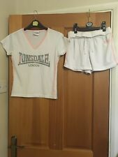Lonsdale White Sports T-shirt And Shorts. Pink/Blue.Perfect  for the gym