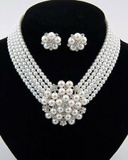 Icon Audrey Hepburn Style Glam Crystal White Pearl Costume Necklace Set + Gift